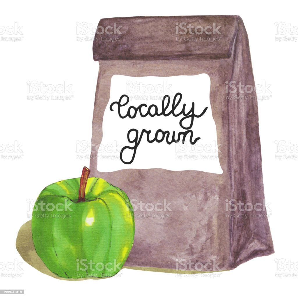 Locally grown. Brown paper bag with apple vector art illustration