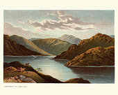 Vintage engraving of Loch Goil, a small sea loch forming part of the coast of the Cowal peninsula in Argyll and Bute, Scotland.