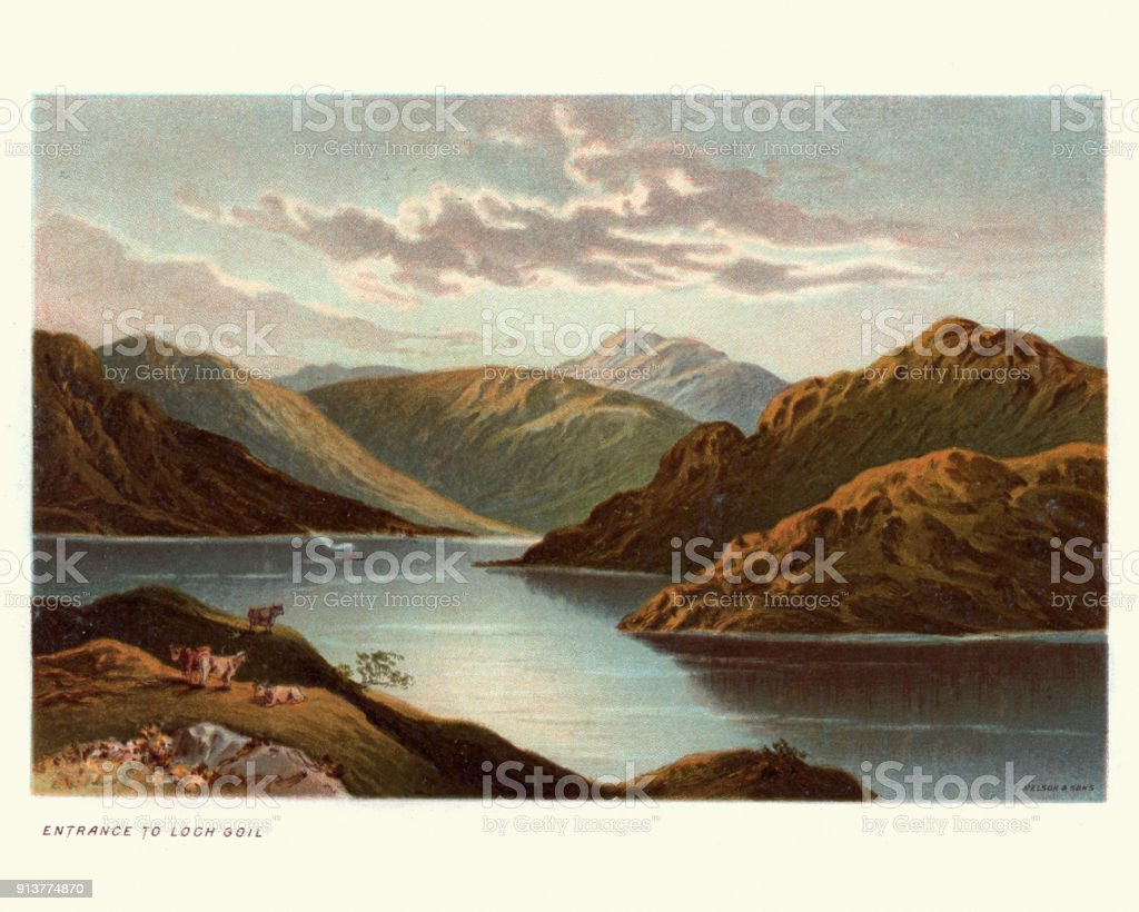 Loch Goil, Scotland, 19th Century vector art illustration