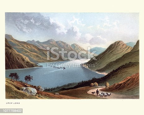 Vintage engraving of Loch Long, Scotland, 19th Century. Loch Long is a body of water in Argyll and Bute, Scotland. The Sea Loch extends from the Firth of Clyde at its southwestern end.