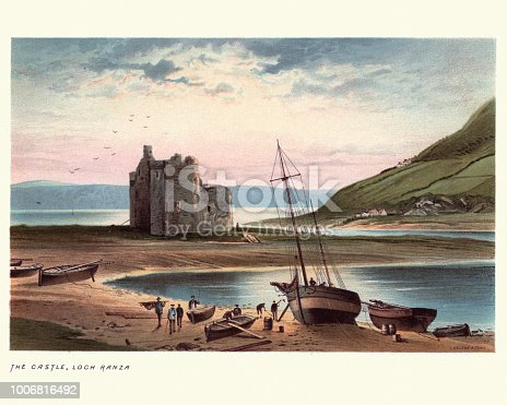 Vintage engraving of Lochranza Castle, Isle of Arran in Scotland, 19th Century