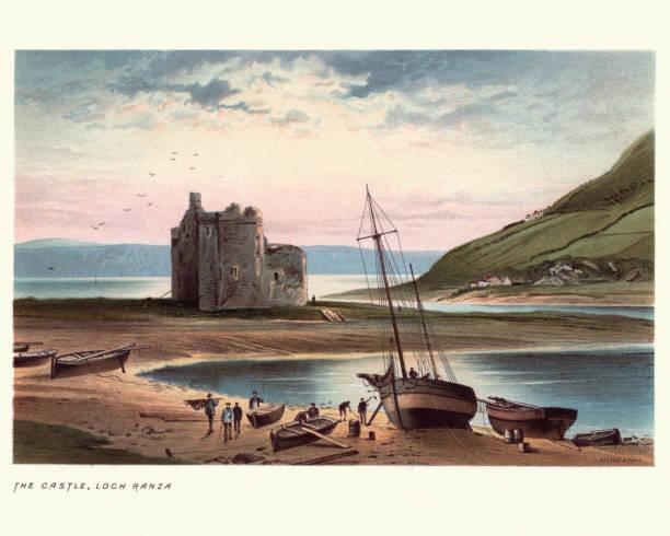 Lochranza Castle, Isle of Arran in Scotland, 19th Century Vintage engraving of Lochranza Castle, Isle of Arran in Scotland, 19th Century lakeshore stock illustrations