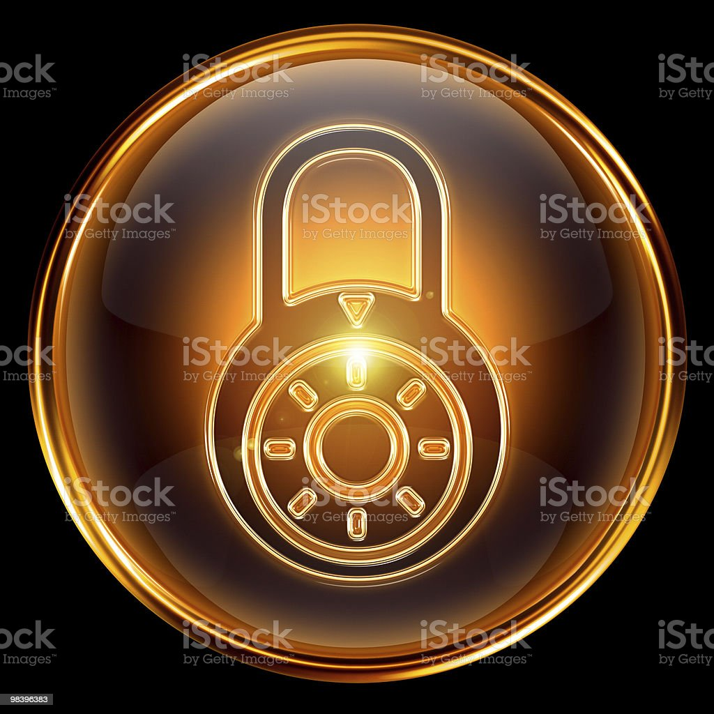 Lock closed icon gold, isolated on black background royalty-free lock closed icon gold isolated on black background stock vector art & more images of black color