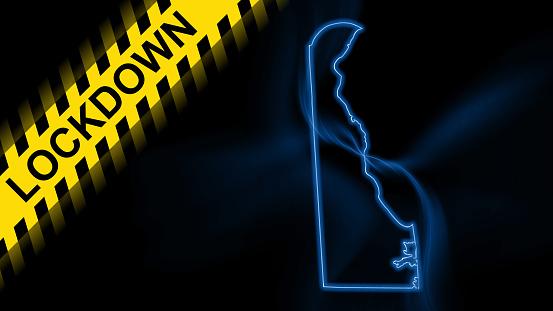 Lockdown Delaware, outline map Coronavirus, Outbreak quarantine