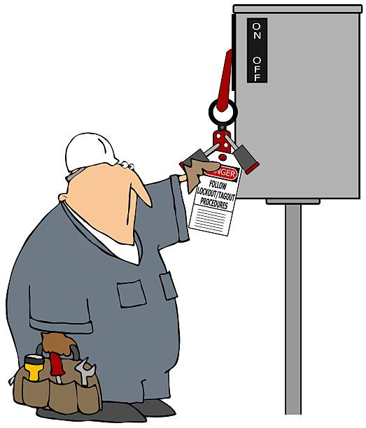Lockout Tagout This illustration depicts a worker checking a lockout-tagout tag on an electrical switch. lockout stock illustrations
