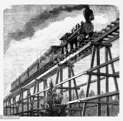 Beautifully Illustrated Antique Engraved Victorian Illustration of Pan Pacific Railway Locomotive Crossing a Tressel Bridge Engraving, 1877. Source: Original edition from my own archives. Copyright has expired on this artwork. Digitally restored.