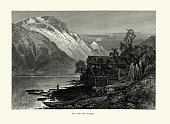 istock Log cabin and boats on the Sorfjord, Norway, 19th Century 1256178157