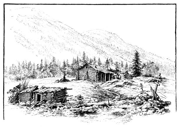 log cabin - log cabin stock illustrations, clip art, cartoons, & icons