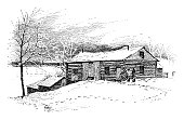 istock Log cabin in the winter 949496988