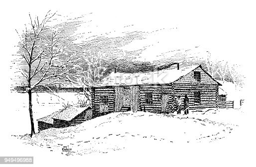 Log cabin in the winter - Scanned 1887 Engraving