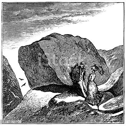 Logan Rock in Cornwall, England, Uk. Vintage etching circa 19th century.