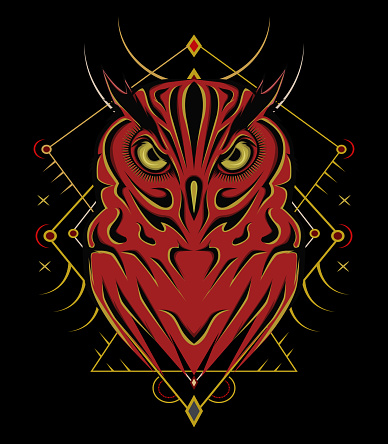 Logo owl, illustration owl for T-shirt design , wall decorative or outwear. Hunting tattoo owl style with spiritual symbol