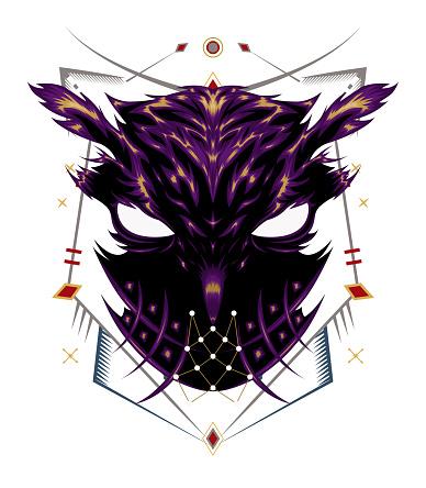 Logo owl, illustration owl with spiritual symbol