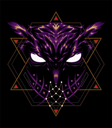 Logo owl, illustration owl with spiritual symbol.
