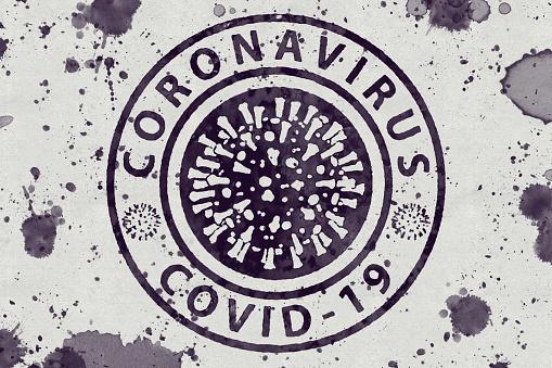 Logo with text coronavirus COVID-19