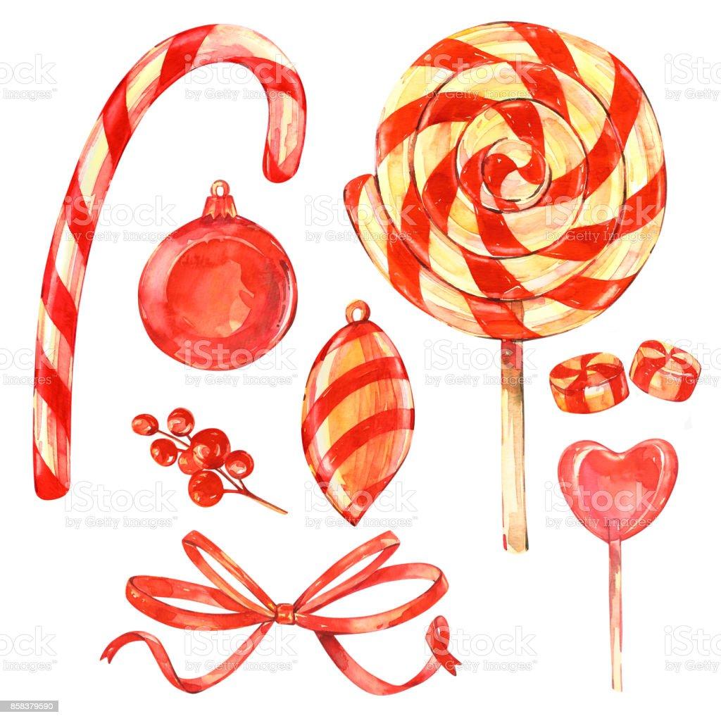Lolipop Yay Ve çilek Noel Tatlı Sulu Boya Resimler Ayarlayın Mutlu