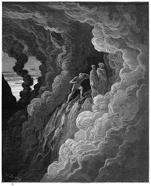 illustrazioni stock, clip art, cartoni animati e icone di tendenza di lombardo in the third circle of purgatory engraving 1870 - dante alighieri