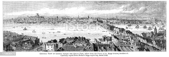 Vintage engraving of London, England, before the Great Fire.  From the Tower of St Mary Overies, Southwark, 1649