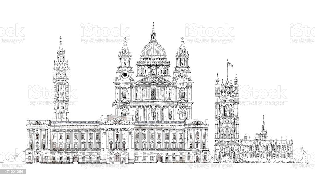 London. Big Ben, Parliament, st. Paul cathedral. Sketch collection vector art illustration