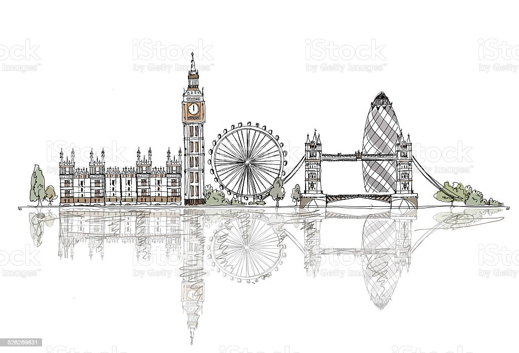 London, Big Ben, Tower bridge. Sketch collection of fafmous buildings vector art illustration