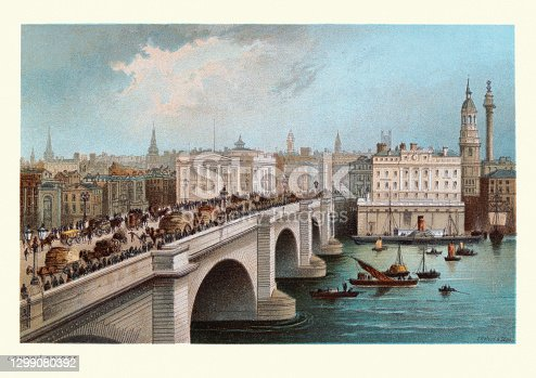 Vintage illustration of London Bridge crossing the Thames, Victorian, 19th Century