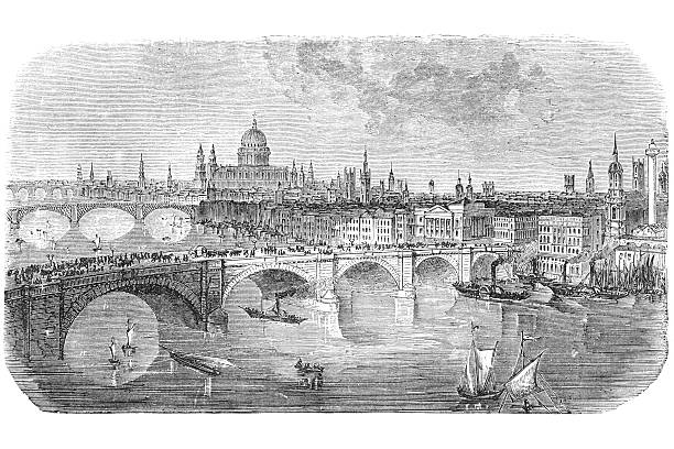 stockillustraties, clipart, cartoons en iconen met london bridge engraving from 1872 - 18e eeuw
