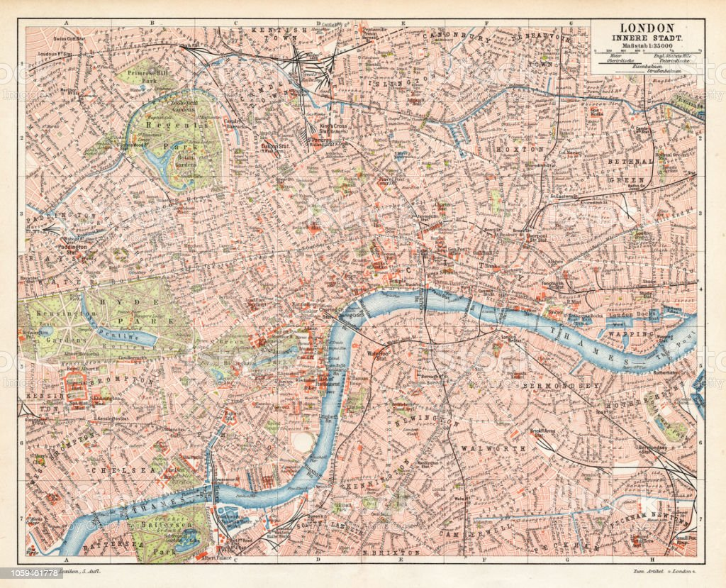 London City Map 1895 Stock Vector Art More Images Of Cartography
