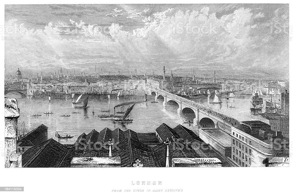 London from the Tower of Saint Saviour's royalty-free london from the tower of saint saviours stock vector art & more images of 19th century