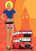 """""""A cute model and a red london bus with the big ben. Girl, bus, big ben and background are on different layers, so all elementes are easy to remove. Hi-res jpg included."""""""