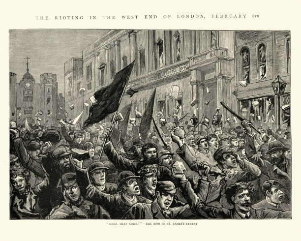 London Riots, 1886, Mob of rioters in St James's Street vector art illustration