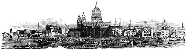 london skyline 1877, st paul's cathedral illustration, illustrated london-news - river paper stock illustrations, clip art, cartoons, & icons