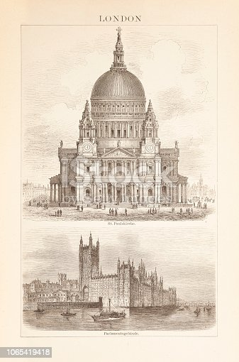 Steel engraving St Paul's Cathedral and Palace of Westminster. St Paul's Cathedral, London, is an Anglican cathedral, the seat of the Bishop of London and the mother church of the Diocese of London. The Palace of Westminster is the meeting place of the House of Commons and the House of Lords, the two houses of the Parliament of the United Kingdom. Original edition from my own archives Source : Brockhaus Conversationslexikon 1885