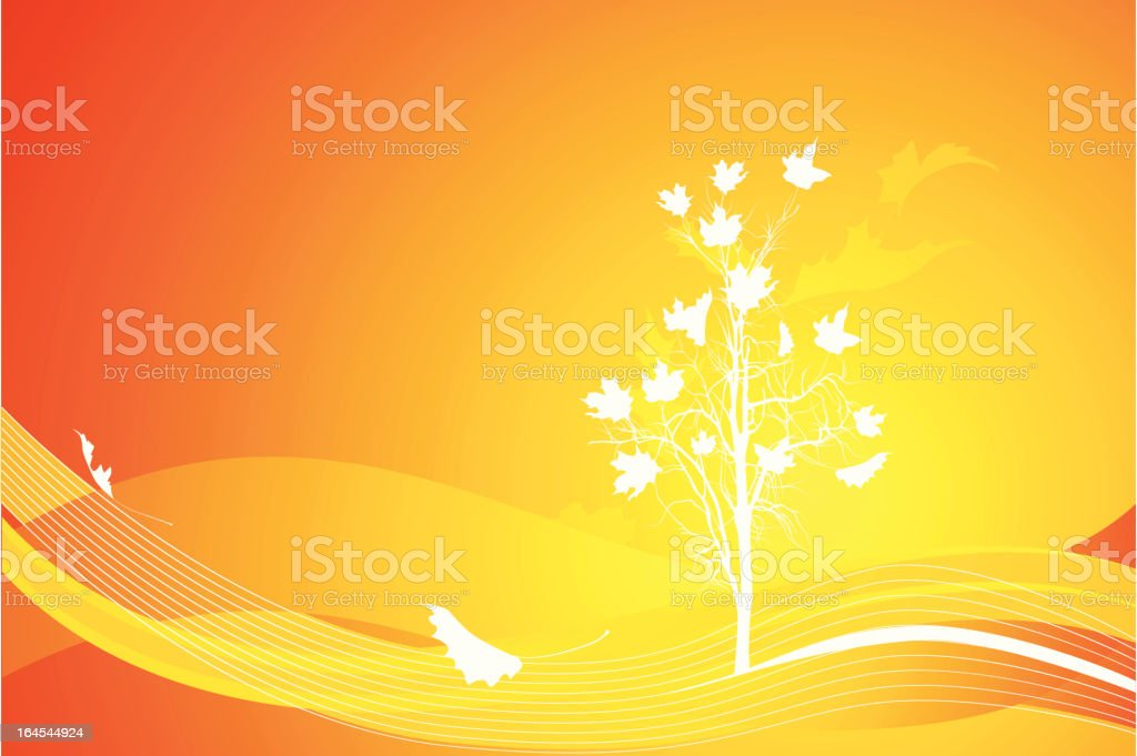 Lone tree in autumn royalty-free stock vector art