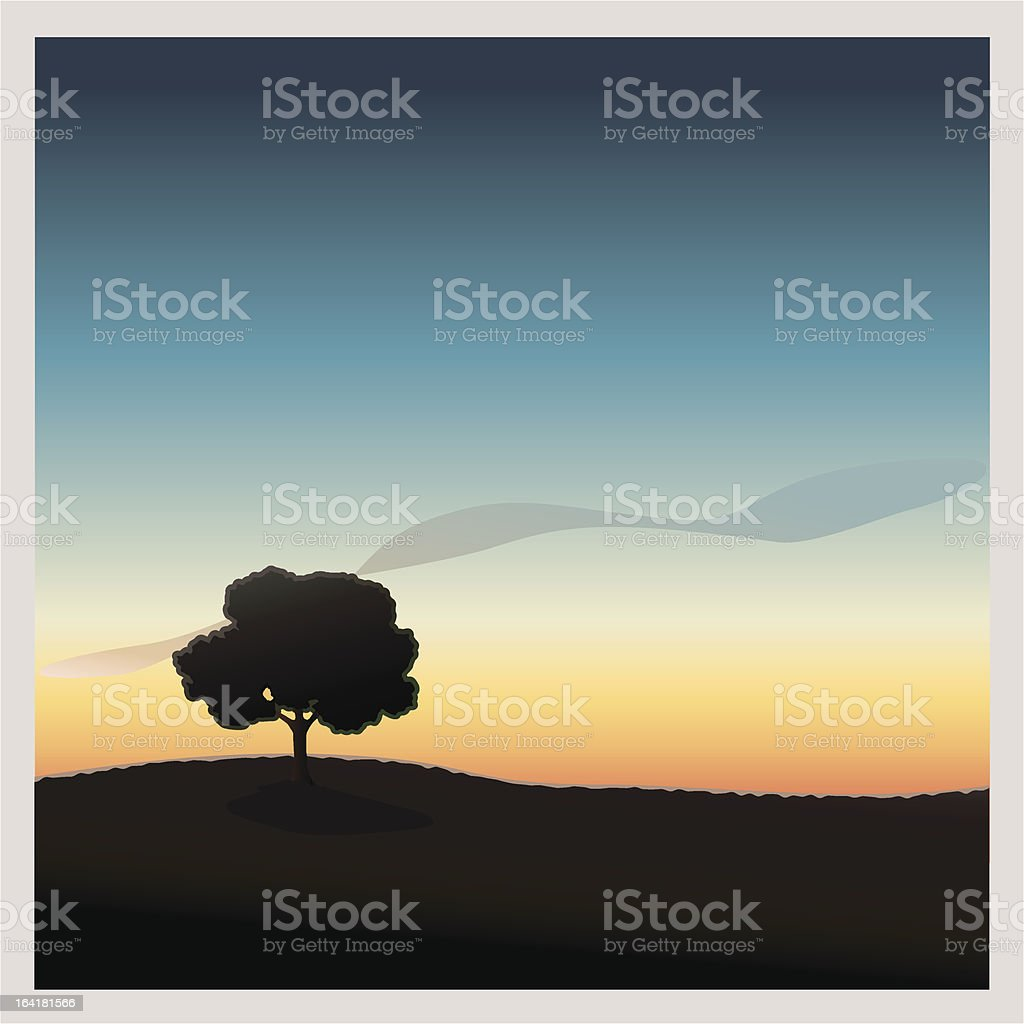 Lone Tree Night royalty-free lone tree night stock vector art & more images of back lit