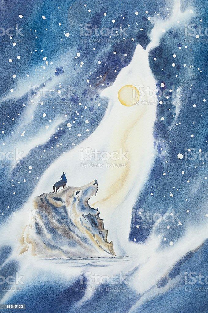 Lone Wolf Howls At Moon vector art illustration
