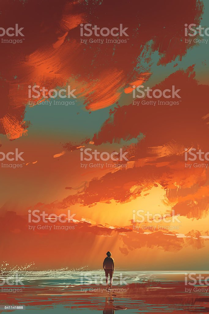 孤独な独身男性に立っている海の夕暮れの空の下で ベクターアートイラスト