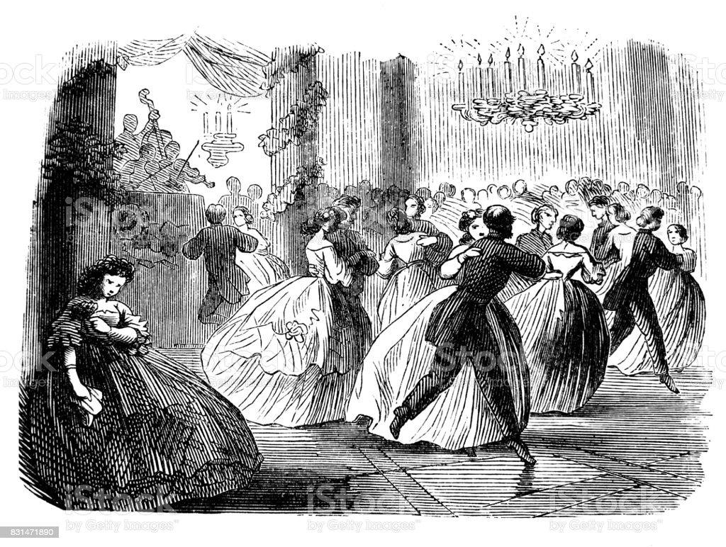 仮装舞踏会 1867 で孤独な悲しい少女 - 1860~1869年のベクターアート ...