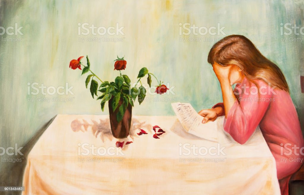Lonely sad woman reading a letter. vector art illustration