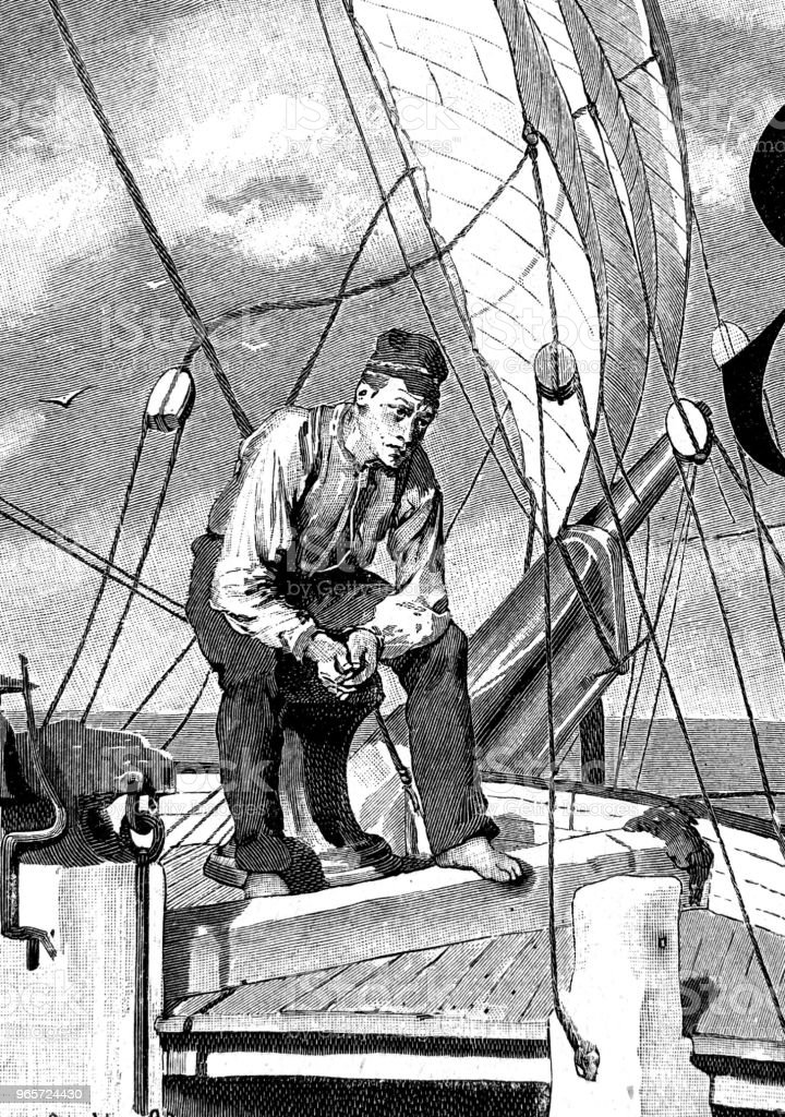 Lonely sailor thinks of his loved ones back home - Royalty-free 1890-1899 stock illustration