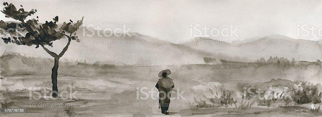 Lonely samurai vector art illustration