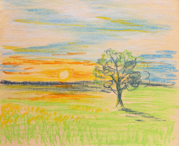 Lonely tree Lonely tree lit by the rays of the setting sun. Painting tempera painting stock illustrations
