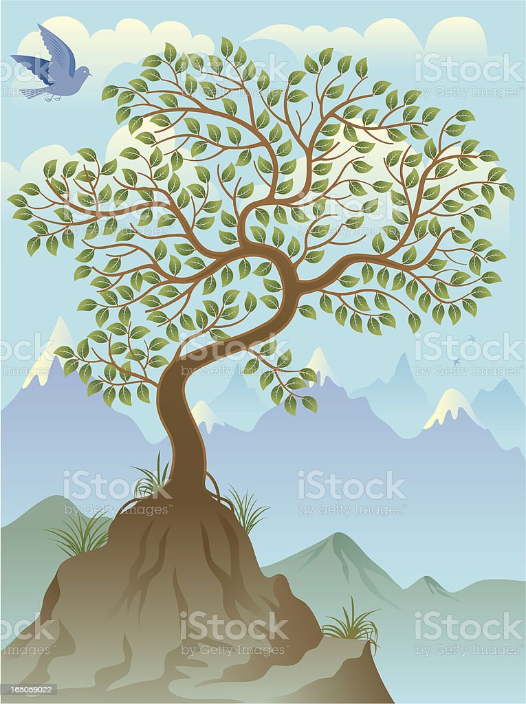 Lonely tree royalty-free stock vector art
