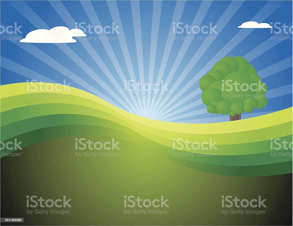 lonely tree in landscape royalty-free stock vector art