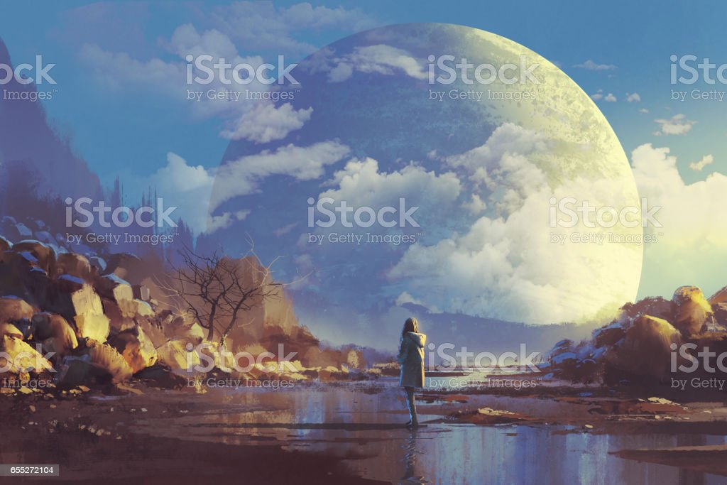lonely woman looking at another earth vector art illustration
