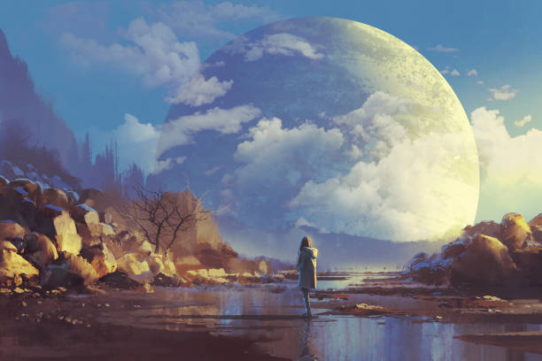 lonely woman looking at another earth scenery of lonely woman looking at another earth,illustration painting dreamlike stock illustrations
