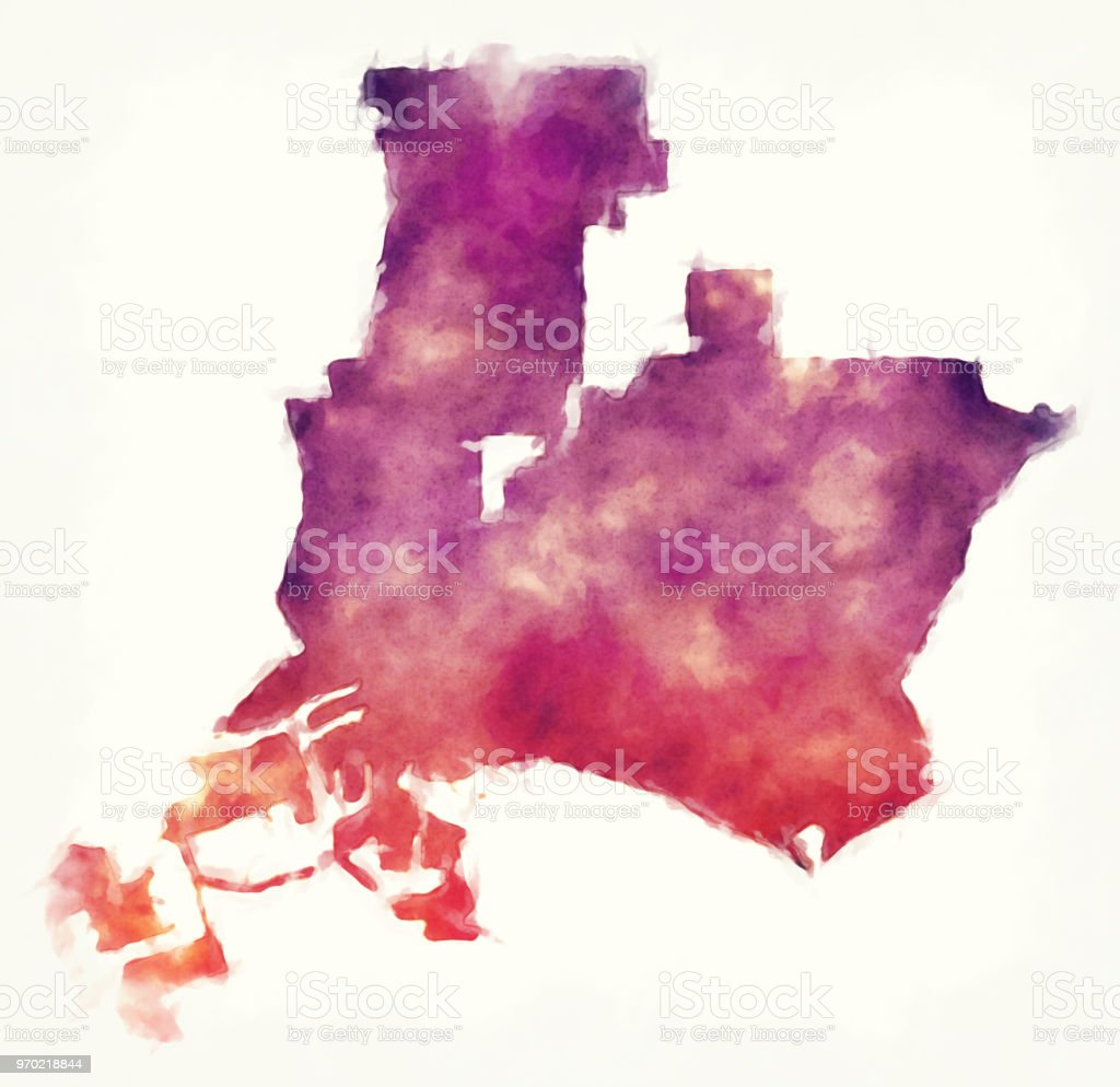 Long Beach California City Watercolor Map In Front Of A White Background  Stock Illustration - Download Image Now
