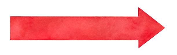 長い明るい赤い矢印水彩スケッチ絵。任意のテキスト、メモ、メッセージ、見出し、アドレスを配置するカラフルな背景。白の背景に handdrawn、創造的なデザインのための切り抜きクリップア - 長い点のイラスト素材/クリップアート素材/マンガ素材/アイコン素材