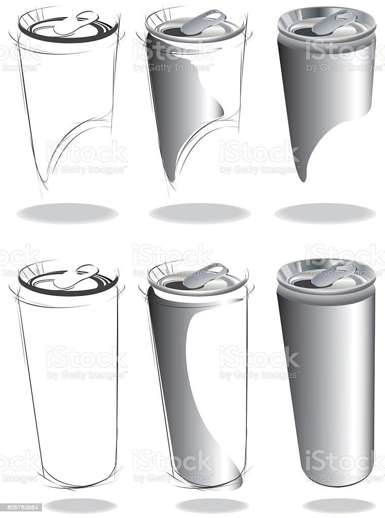 Long Can design set on white background. vector art illustration