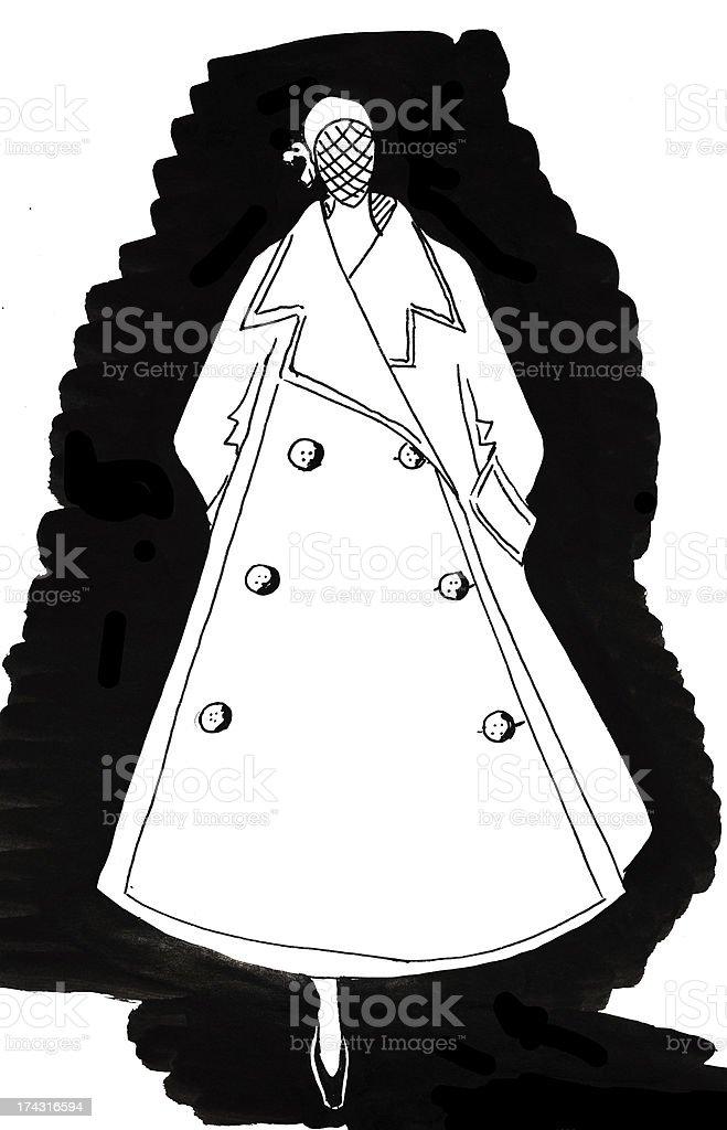 ロングコートに幅広のスカートで 40 年 イラストレーションのベクター
