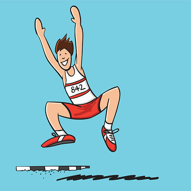 "Long Jump Athlete ""Sketchy vector illustration of a happy Long Jump Athlete. Line art, color and background are on separate layers, so you also can use the illustration on your own background. The colors in the .eps-file are ready for print (CMYK). Included files: EPS (v8) and Hi-Res JPG."" doodle NOT black and white stock illustrations"